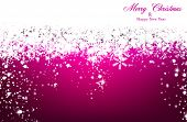 Magenta winter abstract background. Christmas background with snowflakes and sparkles. Vector.