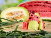 Melon and water melon on bamboo plate on grass on natural background