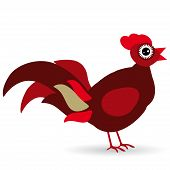 Cartoon Illustration Of A Rooster On A White Background.