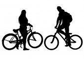 Sport man and women whit bike on white background
