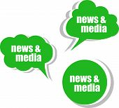 News And Media. Set Of Stickers, Labels, Tags. Template For Infographics