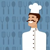 Cook, people occupation. Vector illustration.