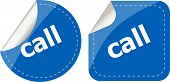 Call Word Stickers Set, Web Icon Button