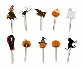Set of Halloween Item and Monster on Wooden Sticks