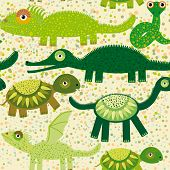 stock photo of green snake  - Cheerful seamless pattern with crocodile turtle dragon iguana snake Green background vector - JPG