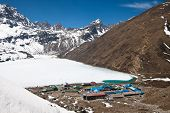 Village Gokyo, Lake Dudh Pokhari, Renjo La Pass. Himalayas. Nepal