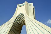 stock photo of tehran  - Azadi tower symbols of Tehran City Iran - JPG