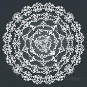 Oriental arabesque round pattern background on chalkboard