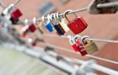 Love padlocks at a bridge in Hamburg