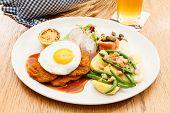 Wiener Schnitzel with Potatoes and Fresh Vegetables