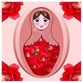 Painted matryoshka in crimson roses