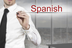 image of pronunciation  - businessman in office writing spanish in the air - JPG