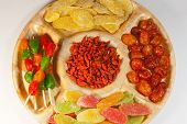 Assorted dried fruit on a platter for a party