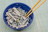 picture of disgusting  - A lot of screws and dowels ready to be eaten in a bowl - JPG