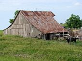old weathered wooden barn