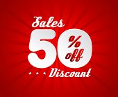 Sale poster with 50% percent discount. Red edition for sales.
