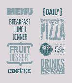 Restaurant menu typographic design. Vector illustration.