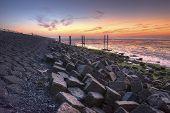 Wadden Island Terschelling Dyke at sunrise
