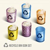 realistic recycle bin icons set