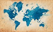 Illustrated map of the world with a textured background and watercolor spots. Grunge background. vec