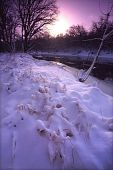 picture of winnebago  - The sun rises over fresh snowfall at Blackhawk Springs Forest Preserve in northern Illinois - JPG