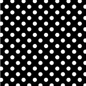 Seamless Polka Dot Pattern, Black Background