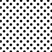 Seamless Polka Dot Pattern, White Backgrund