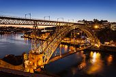 image of dom  - The Dom Luis I Bridge is a metal arch bridge that spans the Douro River between the cities of Porto and Vila Nova de Gaia Portugal - JPG