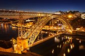 pic of dom  - The Dom Luis I Bridge is a metal arch bridge that spans the Douro River between the cities of Porto and Vila Nova de Gaia Portugal - JPG