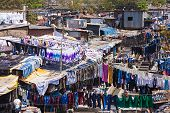 image of laundromat  - Dhobi Ghat is a well known open air laundromat in Mumbai India - JPG