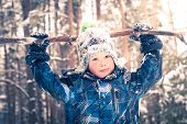 Boy In The Snow Outdoors