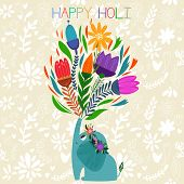 Happy Holi - Concept Vector Card-indian Festival Happy Holi Celebrations -with Cute Elephantdesign I