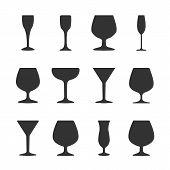 Icons Wineglasses, Vector Illustration