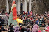 Orel, Russia, Maslenitsa Festival - 22 February, 2015: Burn Kostroma Or Straw Lady Maslenitsa, Durin