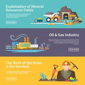 picture of earth-mover  - Miner work flat horizontal banner set with exploitation of mineral resources fields oil and gas industry elements isolated vector illustration - JPG