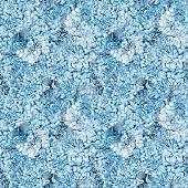 Seamless pattern. Watercolor blue hydrangea, lavender, currant.