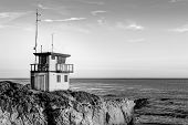 picture of leo  - Lifeguard Station at Sunset in black and white at Leo Carillo State Beach in Southern California - JPG