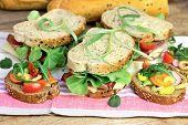 Vegetarian sandwichs and ham sandwichs