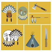 stock photo of tipi  - vector illustration of american indians ethnic elements - JPG