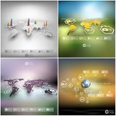 Set of world maps in perspective, blurred infographic vector templates for business design