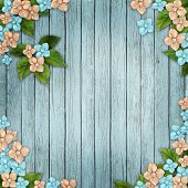Blue Wooden Background With  Flowers, Pearls And Lace