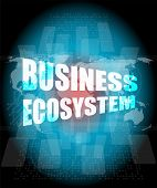 picture of ecosystem  - business ecosystem words on digital touch screen - JPG