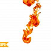 Vector abstract orange cloud. Ink swirling in water, clouds of ink isolated. Abstract banner paints.