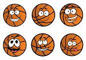 Cartooned basketball ball characters