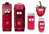 Raspberry drinks and berry in cartoon style