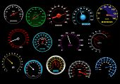foto of speedometer  - Various glowing speedometers set on black background for racing - JPG
