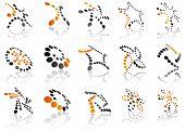 Orange and black 3d symbols