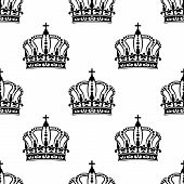 Heraldic seamless pattern with black royal crowns