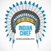 Indian chief hat with plumage. Front view. Vector