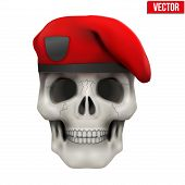 image of beret  - Human skull with Military maroon beret - JPG